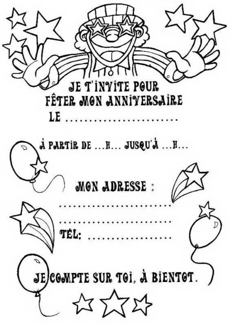 Invitations imprimer anniversaire - Coloriage d un enfant ...