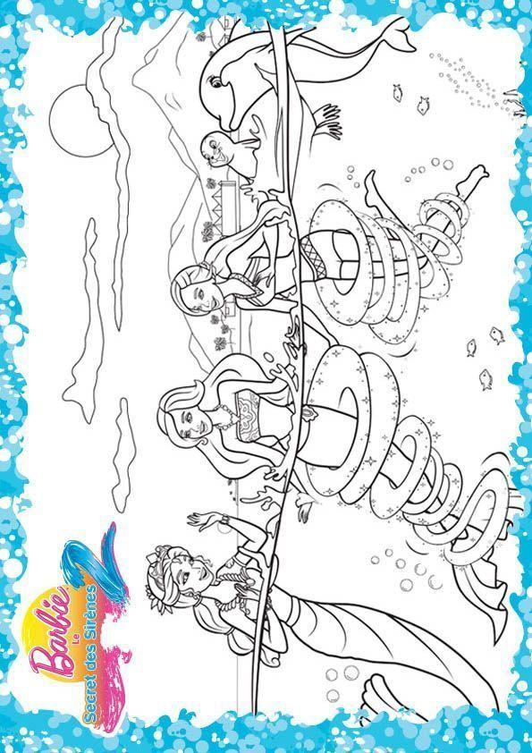 Pin pin merliah et un poisson en action la sirene dans son - Barbie sirene surfeuse ...